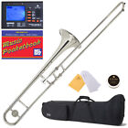Mendini Nickel Plated Bb Slide Trombone +Tuner+Case ~MTB-N