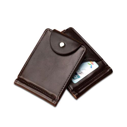 Slim Wallet luxe en cuir argent clip Mince Carte De Crédit ID Titulaire Poche Avant