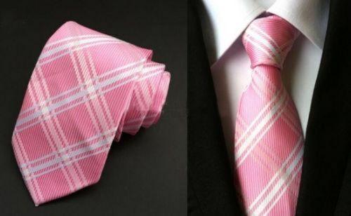 GIFTS FOR MEN Classic Mens Two Way Stripe Silk Formal Necktie Tie Pink White