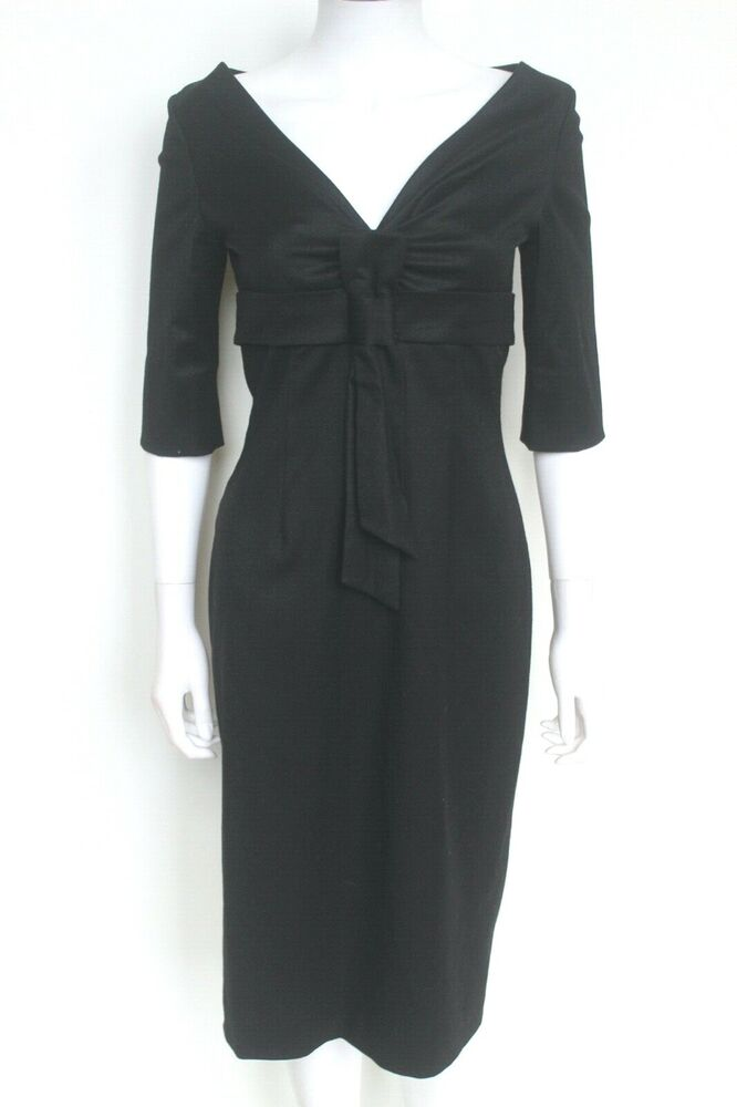 Rare Alexander Mcqueen Laine Noire Nœud 2006 Pencil Dress It 40 Uk8
