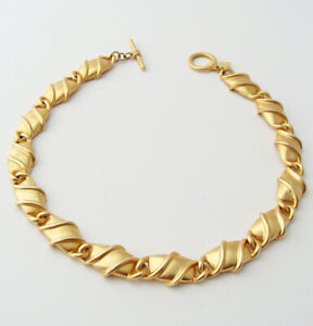 ANNE-KLEIN-Vintage-Chunky-Link-Chain-Necklace-Gold-Tone-Runway-Statement