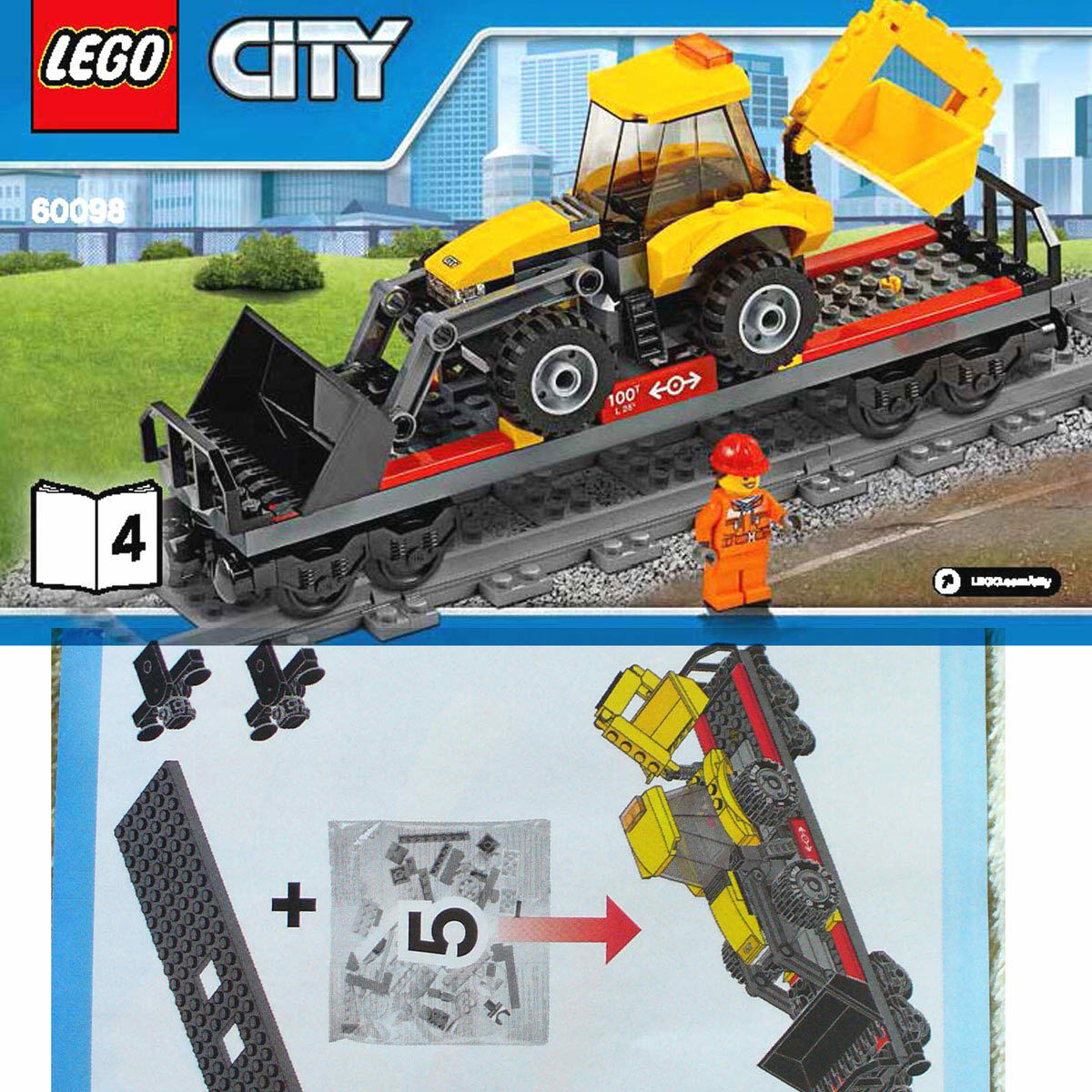 Lego Plana Coche Cargador Frontal Retroexcavadora W (Tren Lego pesado alcance libro 60098 - 4 B4)