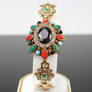 Women-039-s-Vintage-Bohemia-Chain-Bracelet-Crystal-Colorful-Resin-Gold-Plated-GG