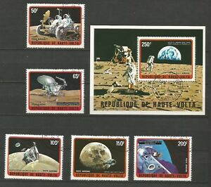 Haute-volta 1973 Poste Aérienne 1 Feuillet & 5 Timbres Espace Apollo /t5043