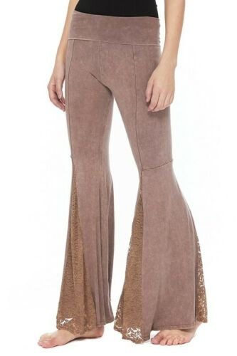 T-PARTY Mocha Mineral Wash Fold Over Waist Mermaid Lace Palazzo Pants  S M L XL