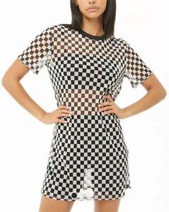 28fc620f510 Forever 21 Sheer Mesh Black & White Checkerboard Print Tee T-Shirt ...