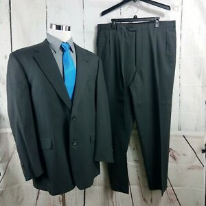 Austin Reed Dillard S 44l 2 Button Gray Striped 2pc Suit 38x32 Pleated Ebay