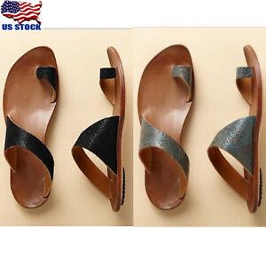 0260e2f2da25 US Womens Sandals Flat Gladiator Flip Flop PU Leather Beach Rome ...