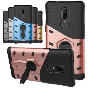 Pour-OnePlus-6-360-Rotatif-Bequille-Case-Hybride-Antichoc-Armure-Housse-De-Telephone