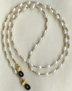 Eyeglass-Chain-Holder-Gold-White-Pearl-Necklace-Lanyard-14k-Replaceable-Ends