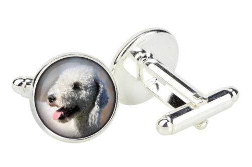 Handmade UK Photo jewellery Bedlington Cufflinks with box for dog lovers