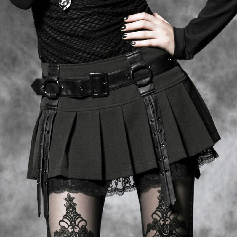 Mini jupe plissée dentelle gothique lolita écolière Japon ceinture PunkRave N