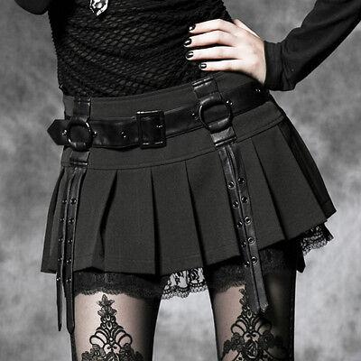EN STOCK Mini jupe plissée dentelle gothique lolita écolière sangles Punkrave S