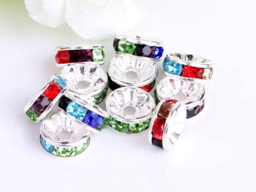 100 Silver Crystal Rhinestone Rondelle Spacers Beads 6mm 8mm 10mm Colour Choice