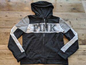 PINK VICTORIA/'S SECRET NAVY SILVER LOGO PERFECT FULL ZIP HOODIE SWEATSHIRT VS