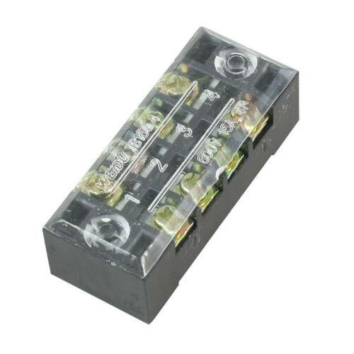 3PCS 600V 15A Dual Row 4 Position Covered Screw Terminal Barrier Blocks BBC