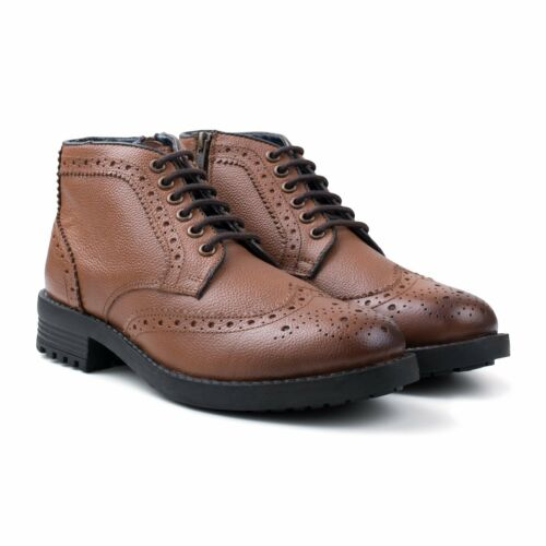 Redfoot Hans Mens Leather Zip Lace Brogue Work//Walking Boots Brown RRP £95 UK 11