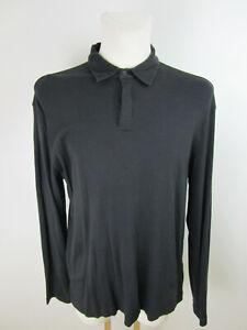 Zegna-Herren-Poloshirt-Polohemd-Longsleeve-XXL-Schwarz-Langarm-Baumwolle