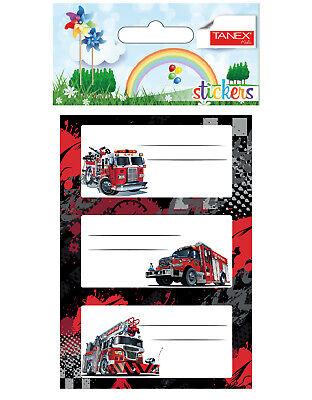 TANEX Kids BRD-6004 Schuletiketten Feuerwehr Buchetiketten 9 Stück