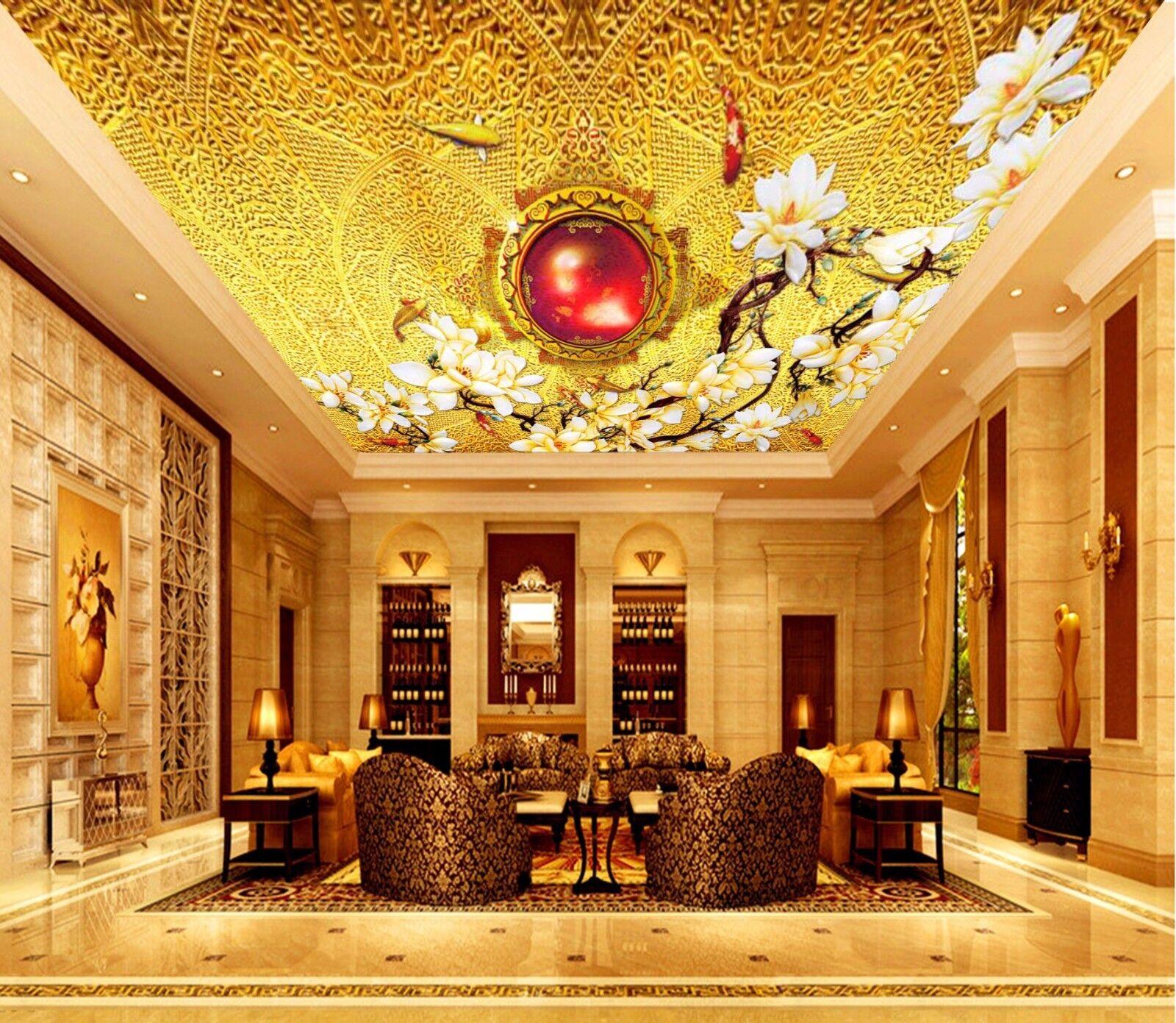 3D Gold MagnolienBlaume 53 Fototapeten Wandbild Fototapete BildTapete DE Kyra