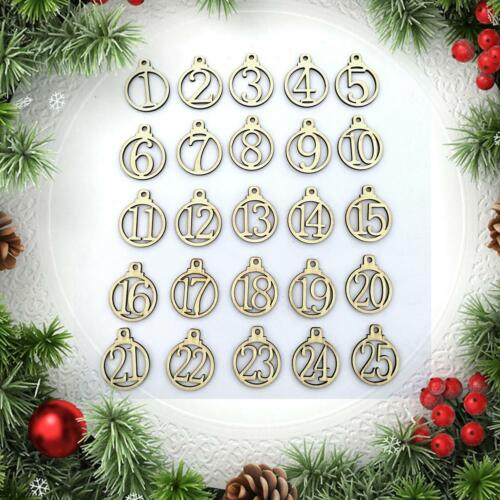 25PCS Christmas Advent Calendar Tags DIY 1-25 Labels Countdown Number Stickers