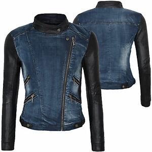 damen bergangs jacke jeansjacke mit kunstleder rmeln kurz jacke stehkragen d152 ebay. Black Bedroom Furniture Sets. Home Design Ideas