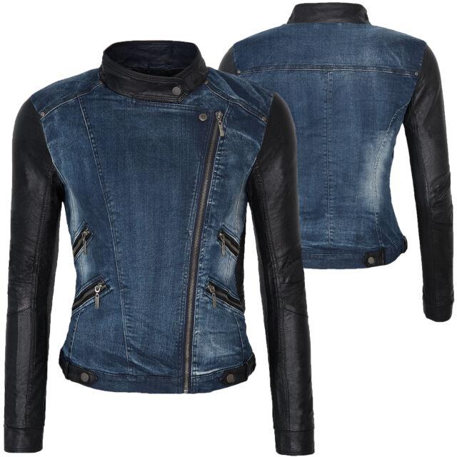 Damen Übergangs Jacke Jeansjacke mit Kunstlederärmeln kurz Jacke Stehkragen D152