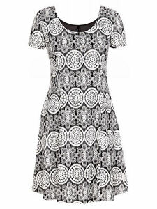 CROSSROADS-Lace-over-Black-lined-short-sleeve-skater-flare-DRESS-size-22-NEW