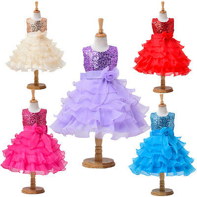 Kid Girls Baby Princess Flower Sequin Party Evening Wedding Layered Tutu Dress