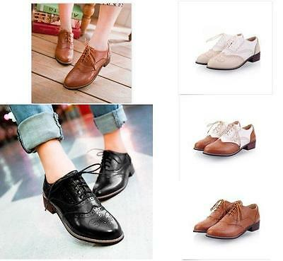 Retro Women's Brogues Lace Up Girls College Oxfords Flats Wingtip Casual Shoes