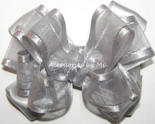 Silver Hair Bow Organza Satin Lame Baby Flower Girls Dressy Party Alligator Clip