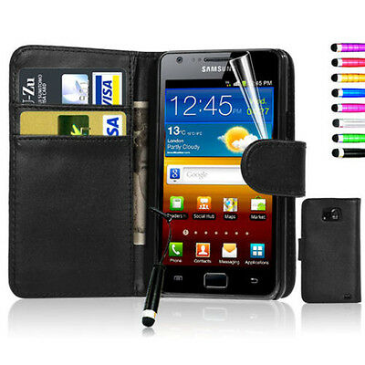 New Folio Flip Wallet Pouch Leather Phone Case Cover For Samsung Galaxy S2 i9100