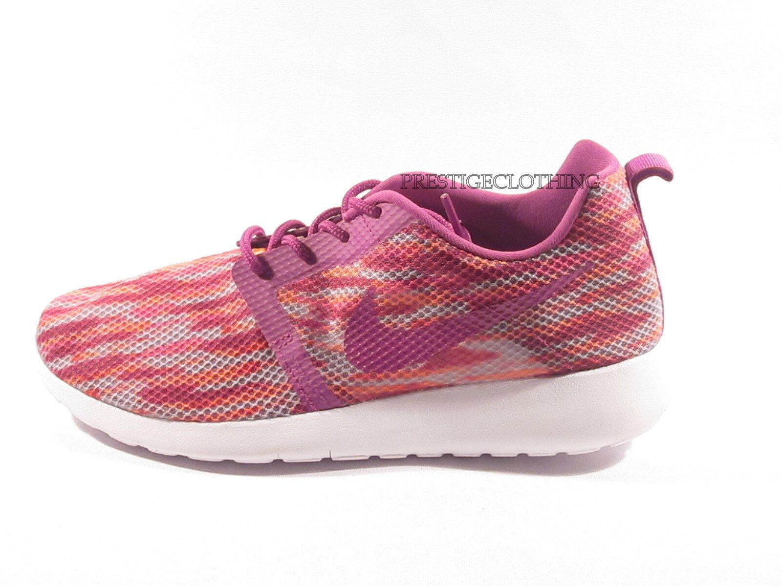 femmes Girls Nike Rosherun Roshe Run Flight Weight Trainers blanc rose 705486100