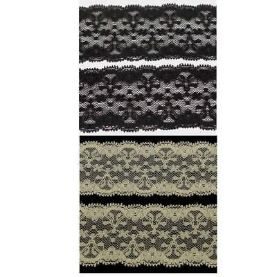 Stretch Picot Lace 4m of 6cm//60mm Pretty Cream or Black  LC67