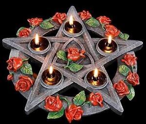 Pentagramm-Rose-Teelichthalter-Teelicht-Kerzenstaender-Wicca-Mystic-Pagan