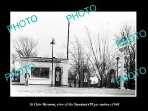OLD-LARGE-HISTORIC-PHOTO-OF-St-CLAIR-MISSOURI-THE-STANDARD-OIL-GAS-STATION-1940