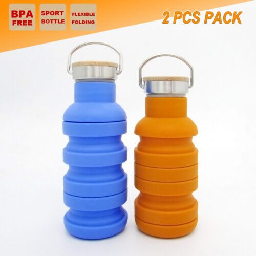 2x Collapsible Sport Water Bottle Folding Yoga Outdoor Hiking Gym Outback Kettle