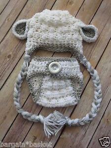 crochet baby lamb set gender neutral photo props shower
