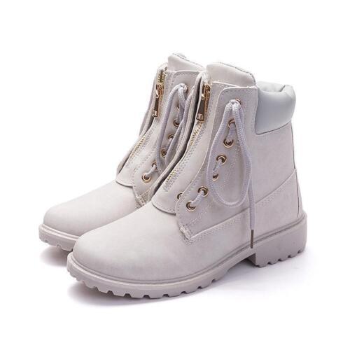 Women/'s Chunky heel Waterproof Motorcycle zip Work Causal shoes Ankle Boots