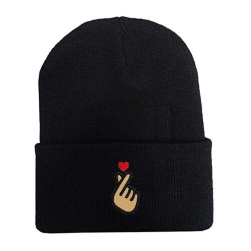 Korean KPOP Love Finger Heart embroidered Beanie Cap Hat Black