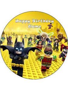 Image Is Loading BATMAN LEGO Edible Wafer Paper Birthday Cake Decoration