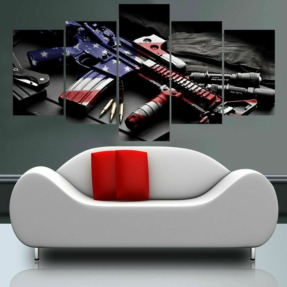 American Flag Gun Patriotic Five Piece Framed Canvas Multi Panel Home Decor Wall