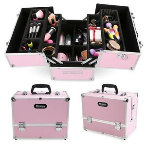 Large Aluminum Makeup Train Jewelry Storage Box Cosmetic Organizer