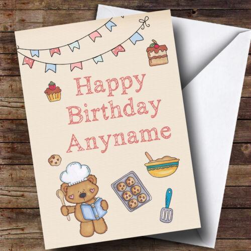 Cute Cooking Teddy Bear Kids Personalised Childrens Birthday Card