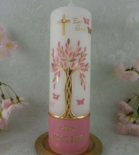 Taufkerze Kommunionkerze Lebensbaum Taufkerzen Baum des Lebens rosa Name Datum