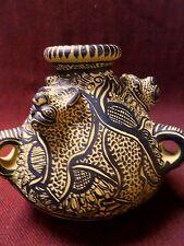 "Mexican Folk Art Chiapas Clay Pottery Jaguar 3 Cat Animal Vase Hand Painted  6"""