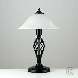 Modern Black Metal Wrought Iron Twist Table Lamp Alabaster ...