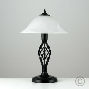 modern black metal wrought iron twist table lamp alabaster. Black Bedroom Furniture Sets. Home Design Ideas