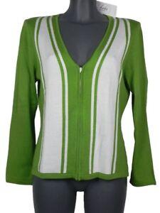 Blanc Éclair Vert 46 Cardigan Fermeture Giorgio Grati Taille Femme Coton wqvZ7Oq