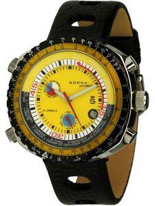 Sorna-Automatikuhr-amarillo-esfera-retrostyle-colgante-reloj-Hombre